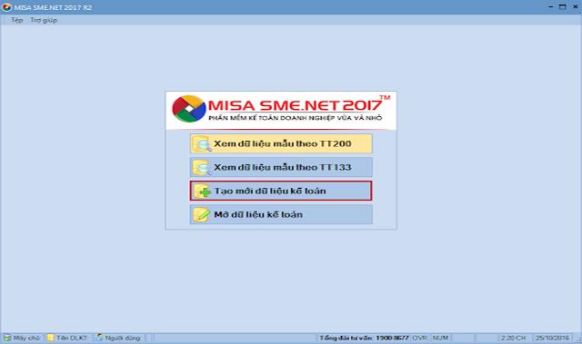 Giao diện của phần mềm misa 2017