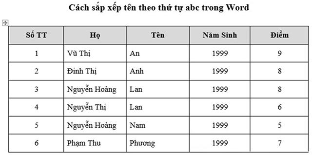 Kết quả cuối cùng sau khi nhập xong thông tin, để sắp xếp dữ liệu trong bảng có cột STT