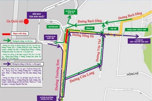 Bản đồ chỉ đường khu vực nút giao thông Trường Sơn trên đường Yên Thế