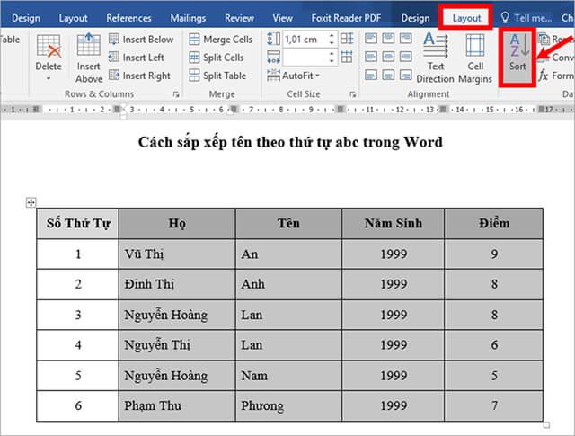 Sắp xếp dữ liệu theo cột số thứ tự trong word