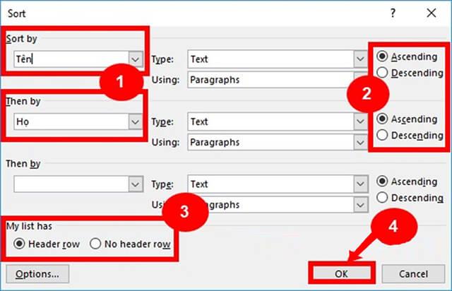 Nhập đầy đủ thông tin vào mục Sort Options