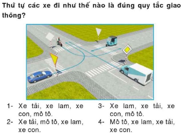 Thứ tự các xe đi đúng quy tắc giao thông